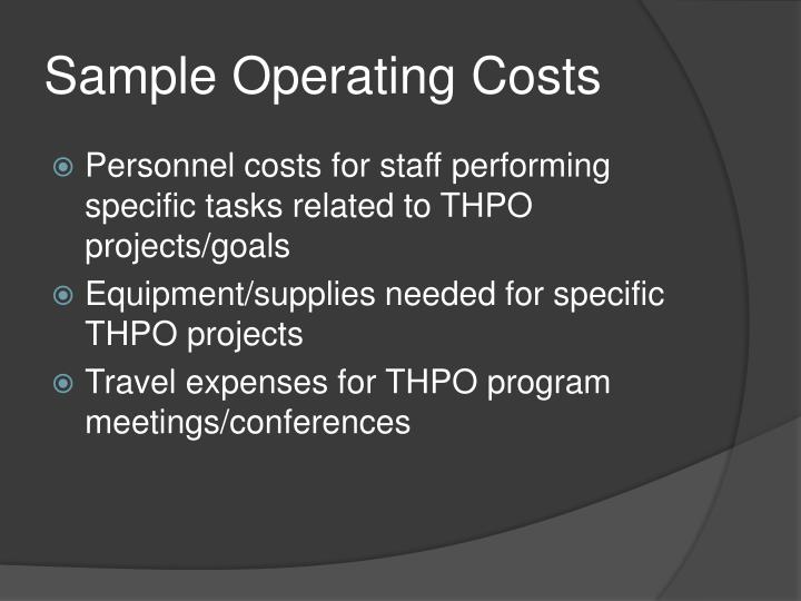 Sample Operating Costs