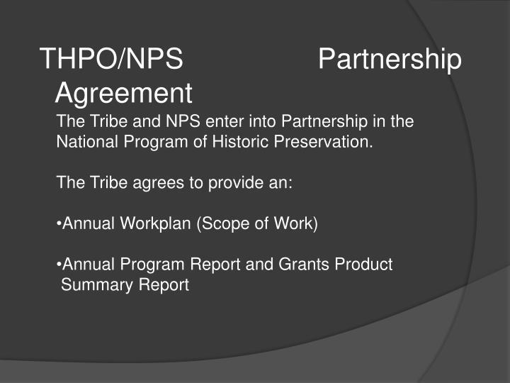 THPO/NPS Partnership Agreement