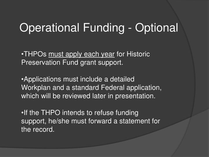 Operational Funding - Optional