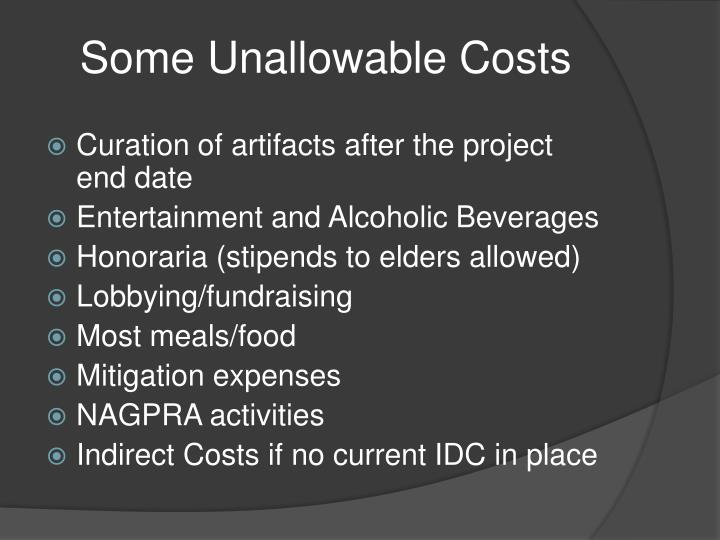 Some Unallowable Costs