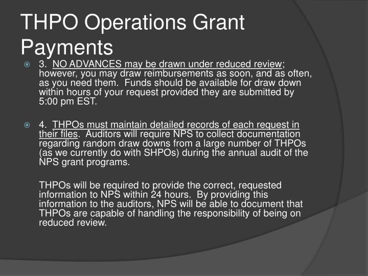 THPO Operations Grant Payments