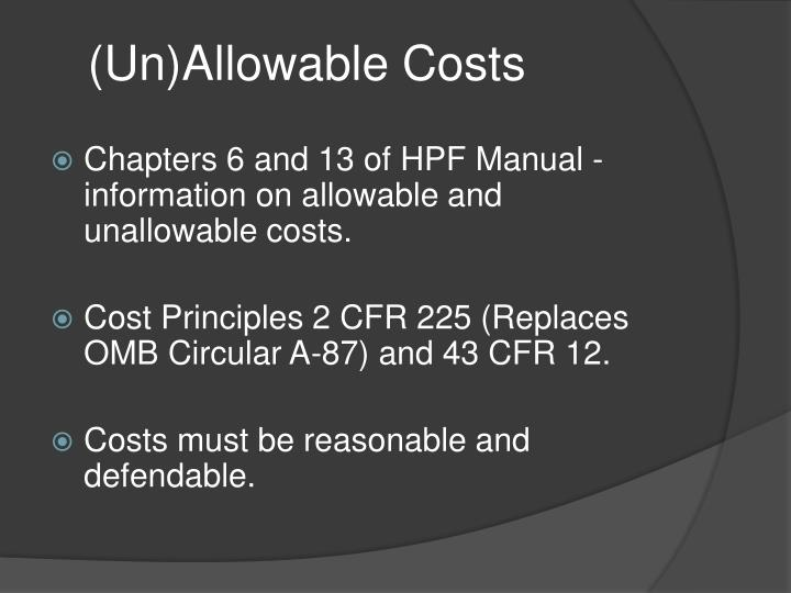 (Un)Allowable Costs