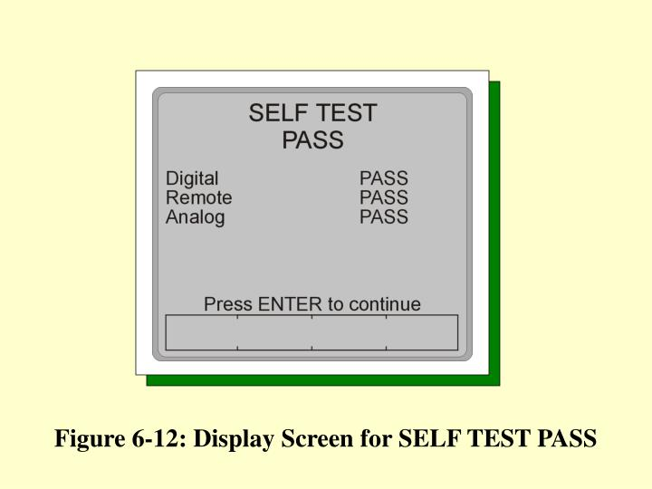 Figure 6-12: Display Screen for SELF TEST PASS