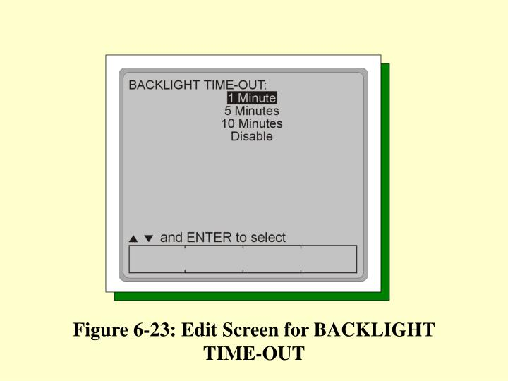Figure 6-23: Edit Screen for BACKLIGHT