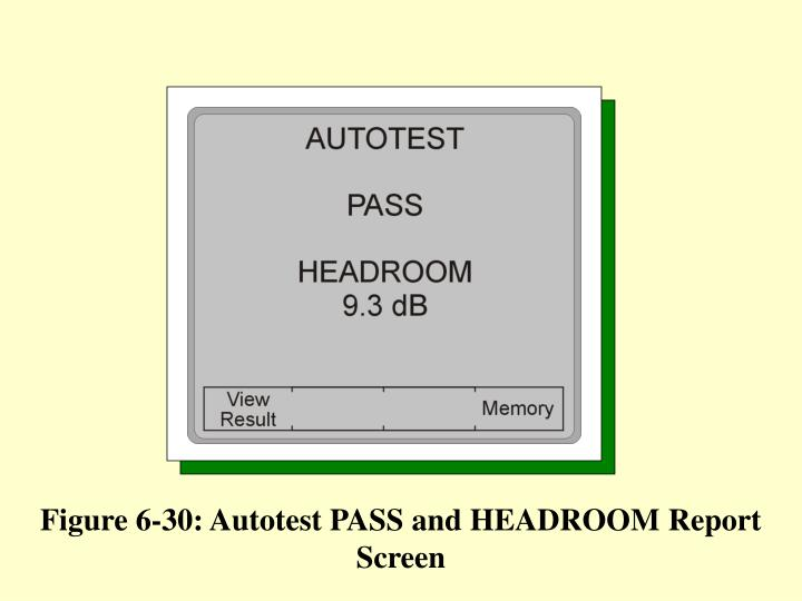 Figure 6-30: Autotest PASS and HEADROOM Report Screen
