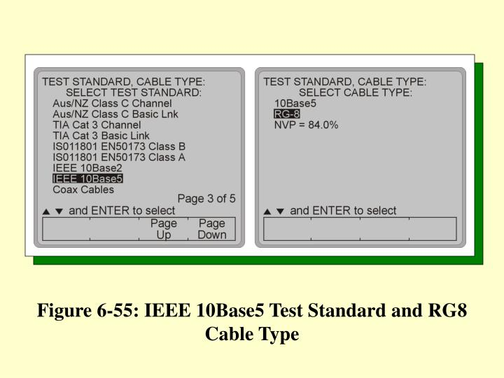 Figure 6-55: IEEE 10Base5 Test Standard and RG8 Cable Type