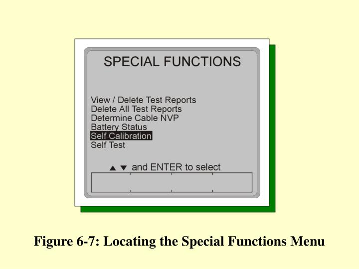 Figure 6-7: Locating the Special Functions Menu