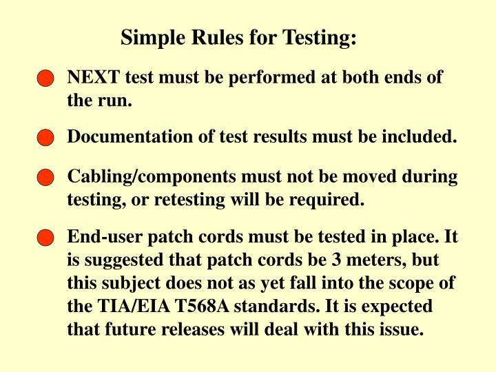 Simple Rules for Testing: