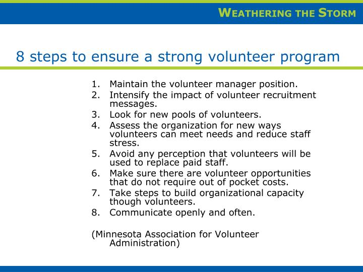 Maintain the volunteer manager position.