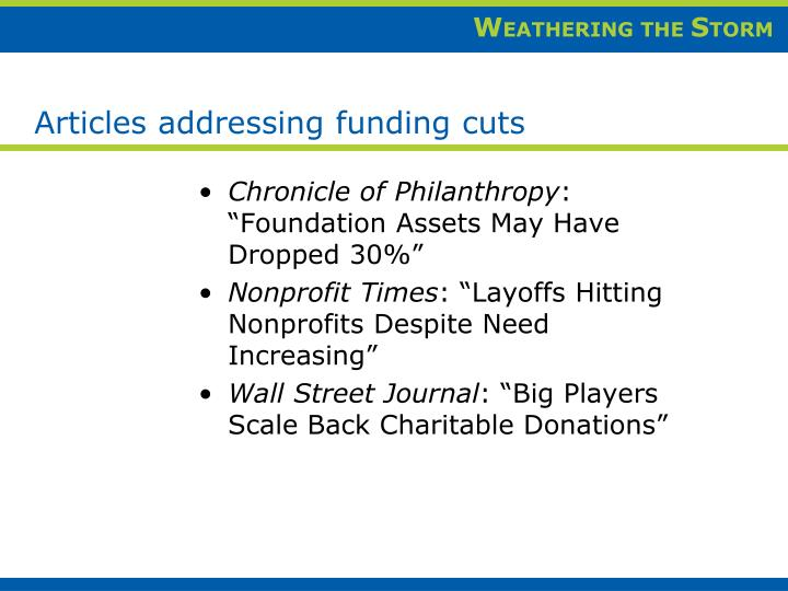 Articles addressing funding cuts