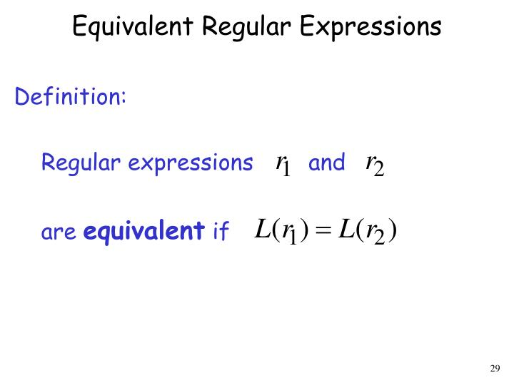 Equivalent Regular Expressions