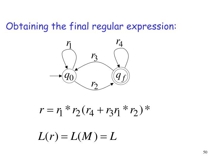 Obtaining the final regular expression: