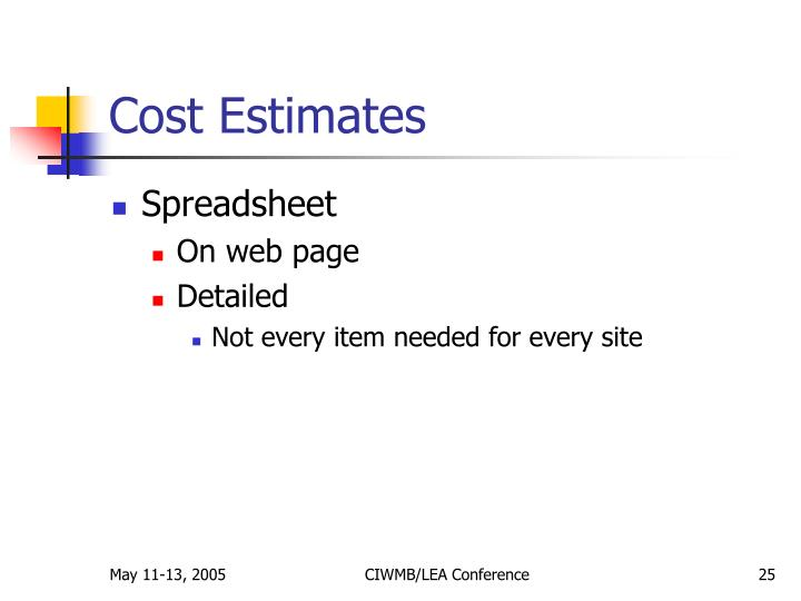 Cost Estimates