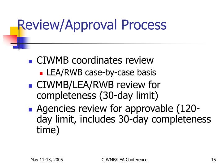 Review/Approval Process