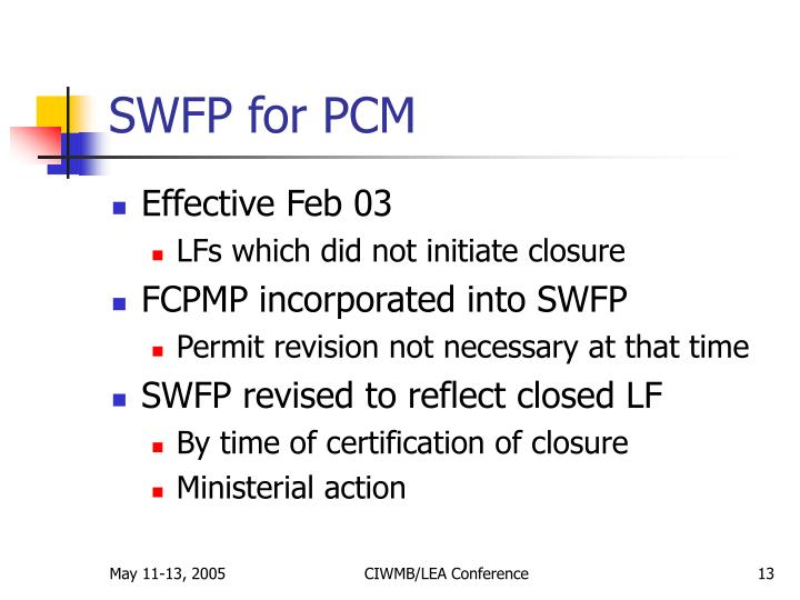 SWFP for PCM