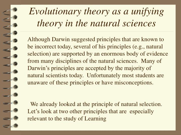 Evolutionary theory as a unifying theory in the natural sciences