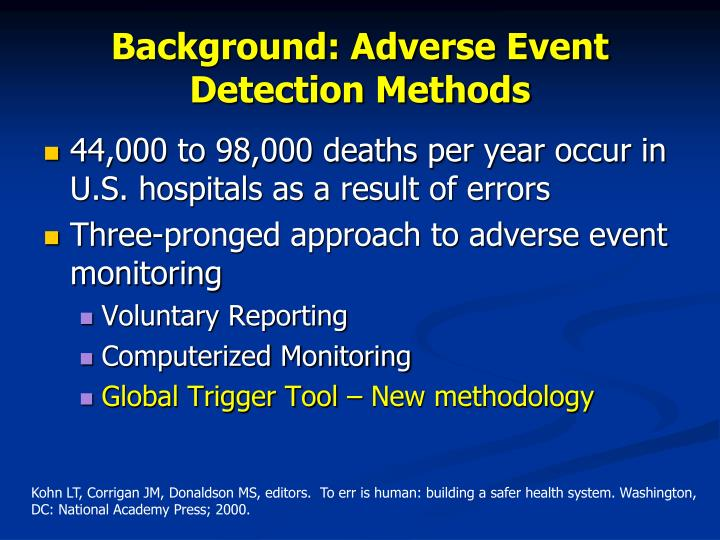 Background adverse event detection methods