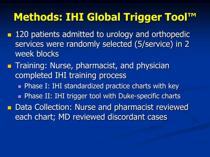 Methods: IHI Global Trigger Tool™
