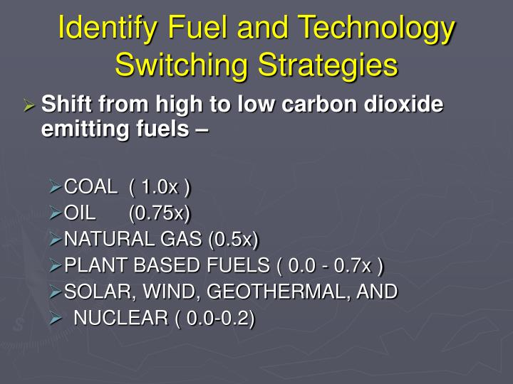 Identify Fuel and Technology Switching Strategies