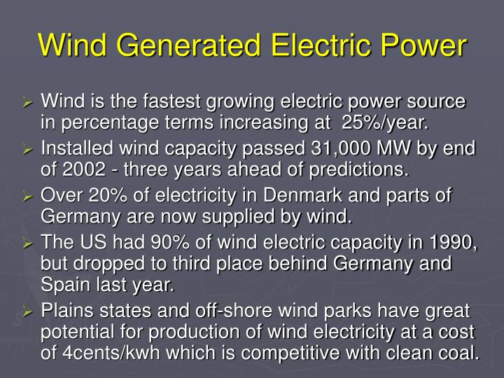 Wind Generated Electric Power