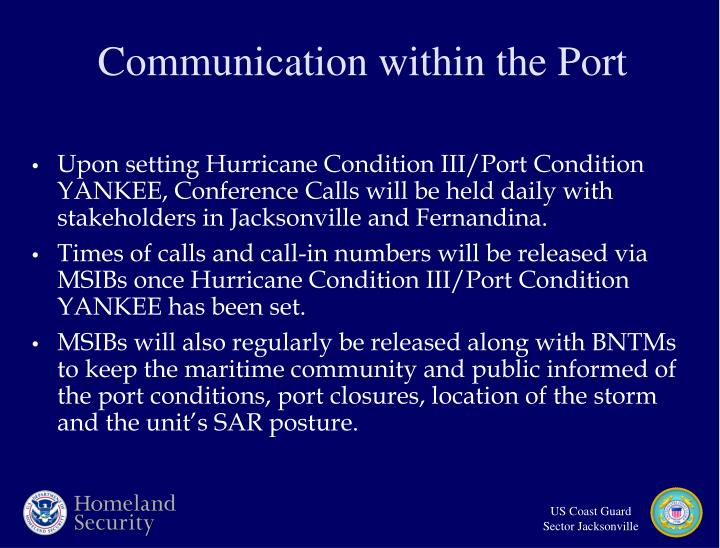 Upon setting Hurricane Condition III/Port Condition YANKEE, Conference Calls will be held daily with stakeholders in Jacksonville and Fernandina.