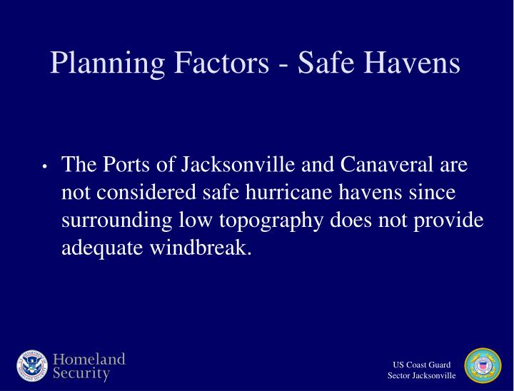 Planning Factors - Safe Havens