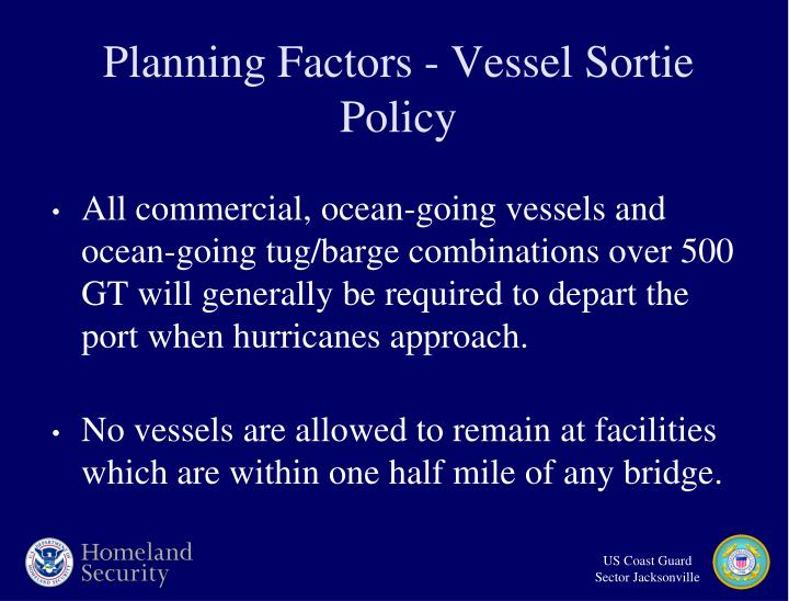 Planning Factors - Vessel Sortie Policy
