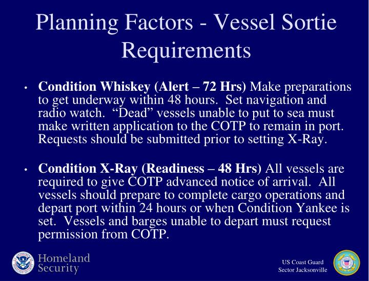 Planning Factors - Vessel Sortie Requirements