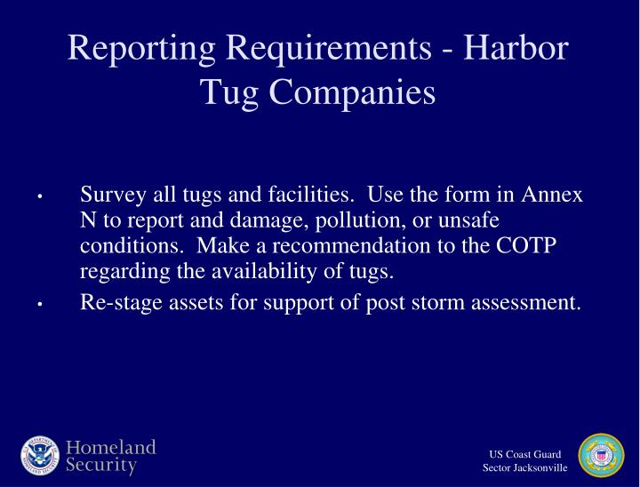Reporting Requirements - Harbor Tug Companies