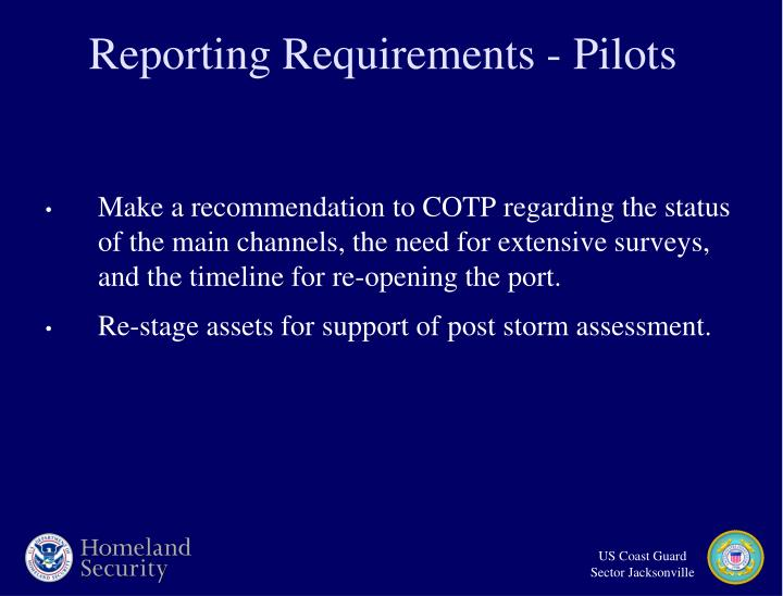 Reporting Requirements - Pilots