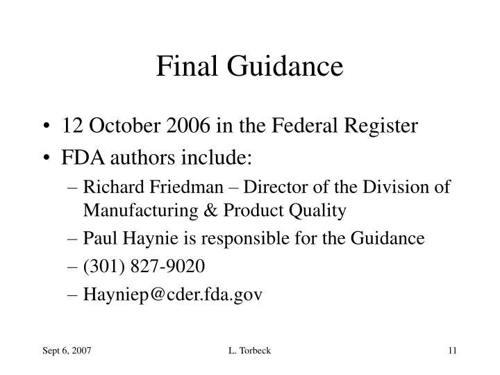 Final Guidance