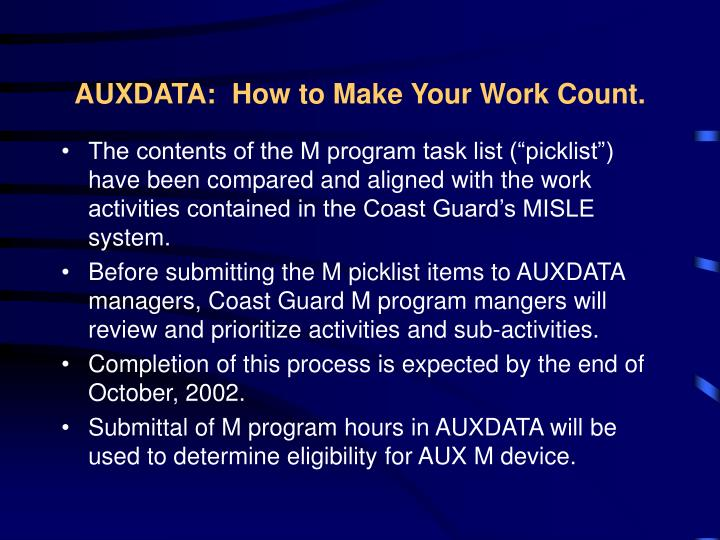 AUXDATA:  How to Make Your Work Count.