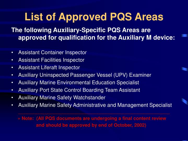List of Approved PQS Areas