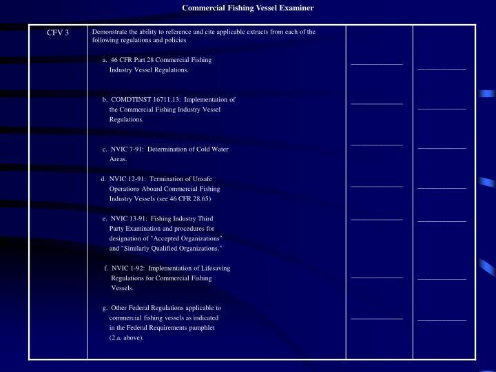 Commercial Fishing Vessel Examiner