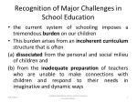 recognition of major challenges in school education