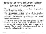 specific concerns of current teacher education programmes iii