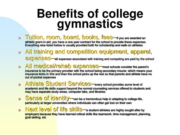 Benefits of college gymnastics