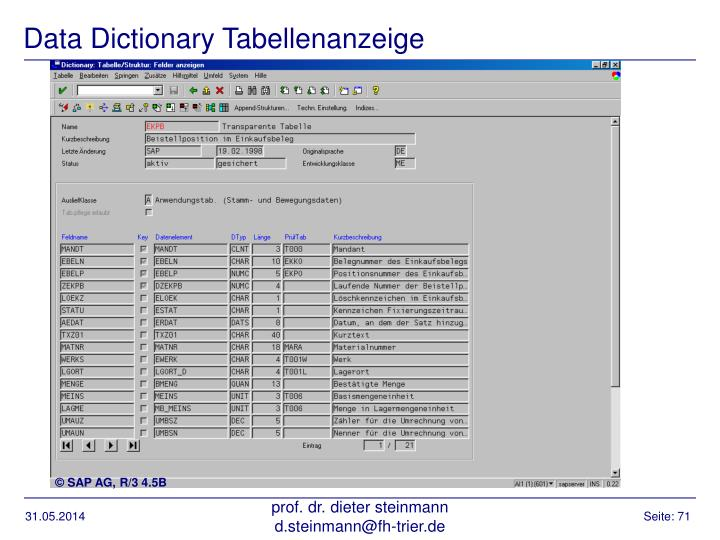 Data Dictionary Tabellenanzeige