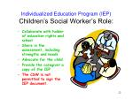 individualized education program iep children s social worker s role