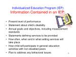 individualized education program iep information contained in an iep