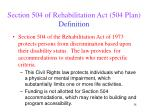 section 504 of rehabilitation act 504 plan definition