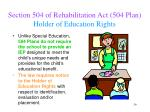section 504 of rehabilitation act 504 plan holder of education rights