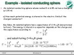 example isolated conducting sphere
