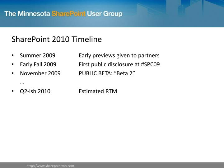 SharePoint 2010 Timeline