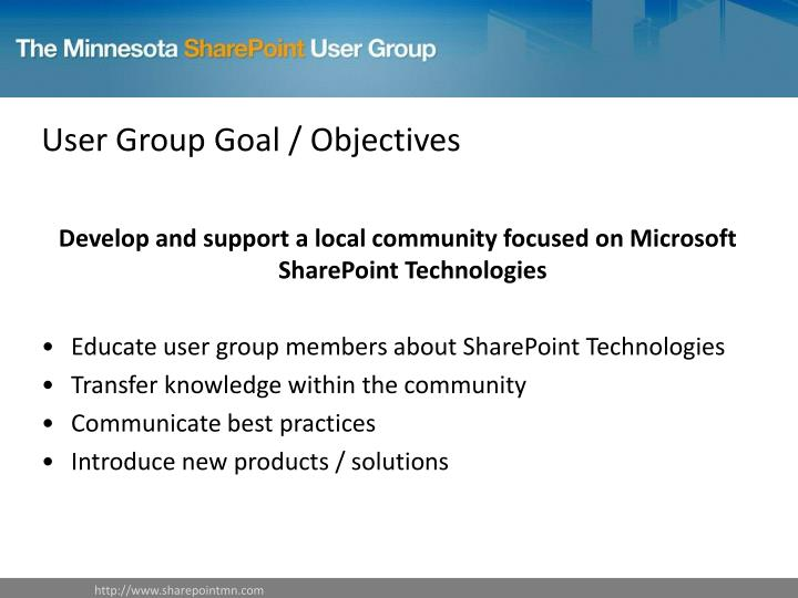 User group goal objectives
