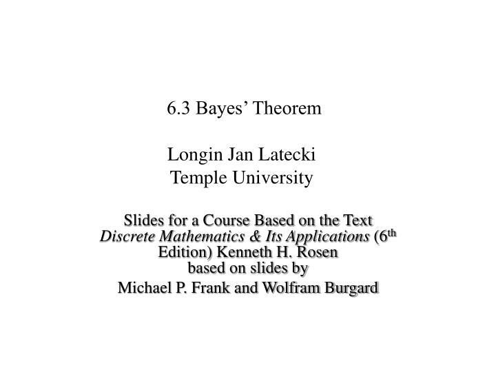 6.3 Bayes' Theorem