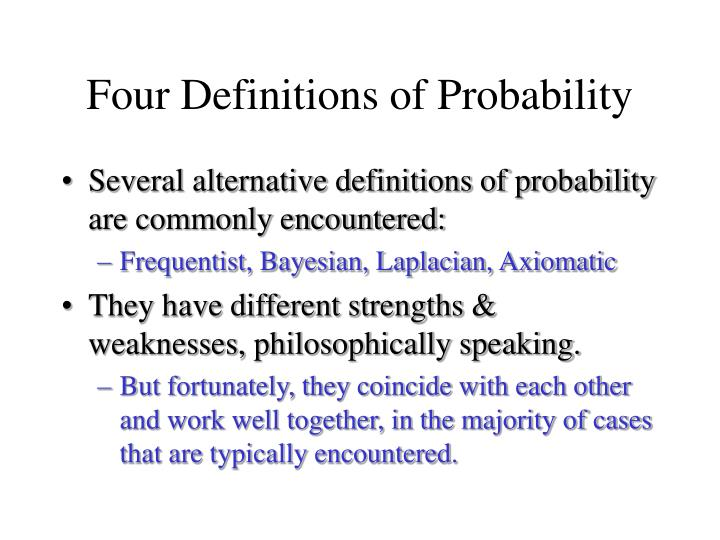 Four Definitions of Probability