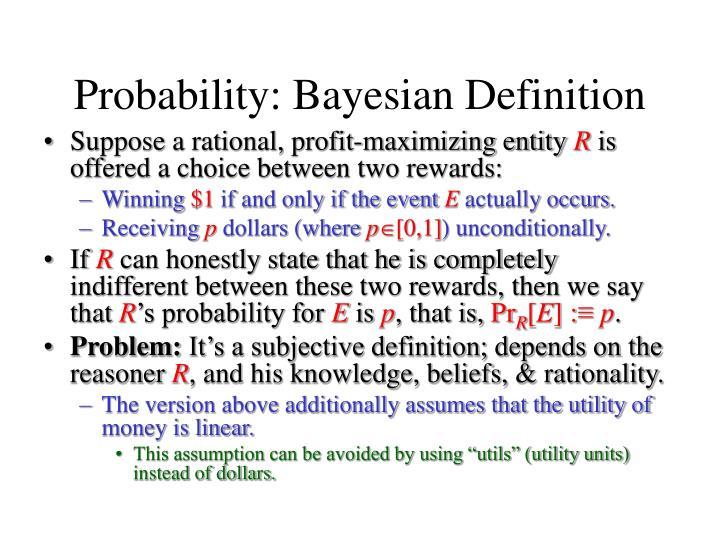Probability: Bayesian Definition