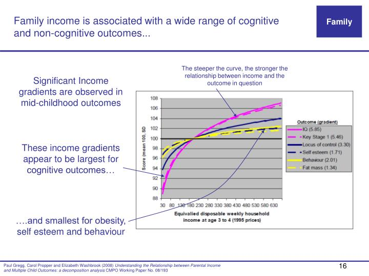Family income is associated with a wide range of cognitive