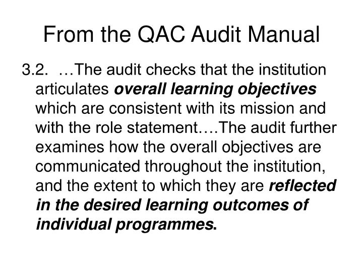 From the qac audit manual